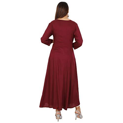 Flaray Women's Rayon Embroidered Ankle Length Anarkali Kurti (Maroon)