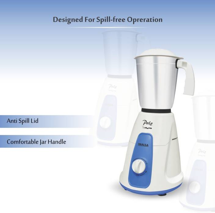 Inalsa Polo 550 W Mixer Grinder  (White, Blue, 3 Jars) - iZiffy.com