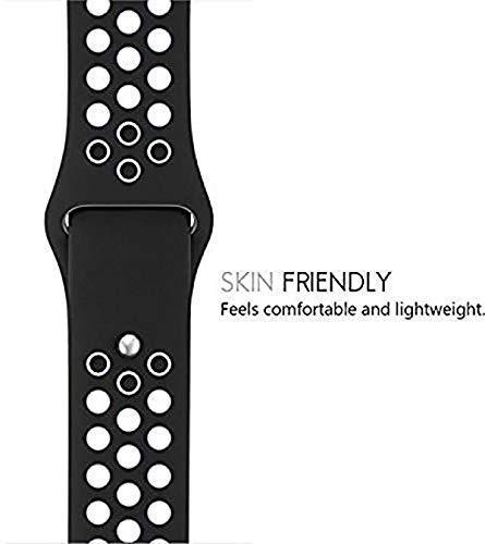 One Armor Compatible with Apple iWatch Band 42/44mm Silicone Strap for Series 4/3/2/1 (Watch NOT Included) Black/White Sports - iZiffy.com
