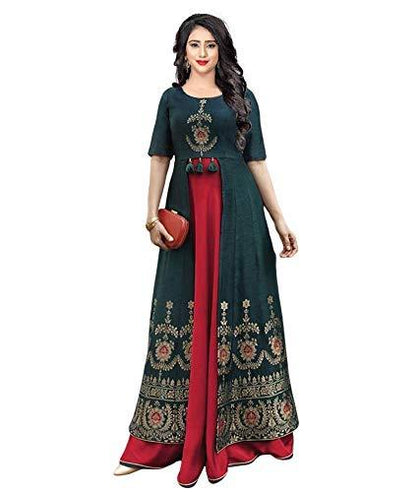 Flaray Women's Dark Green Jacard Fabric Stitched Anarkali Kurta - iZiffy.com