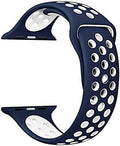 One Armor Compatible with Apple iWatch Band 42/44mm Silicone Strap for Series 4/3/2/1 (Watch NOT Included) Blue/White Sports - iZiffy.com