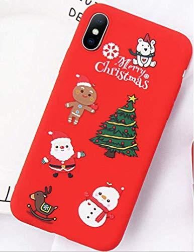 One Armor iPhone Xs/X Cartoon Christmas Santa Claus Elk Soft TPU Case (Red) (iPhone X) - iZiffy.com