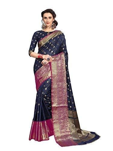 Flaray Kanjivaram Art Silk Banarasi Jacquard Silk Blend Sarees With Blouse Piece - iZiffy.com