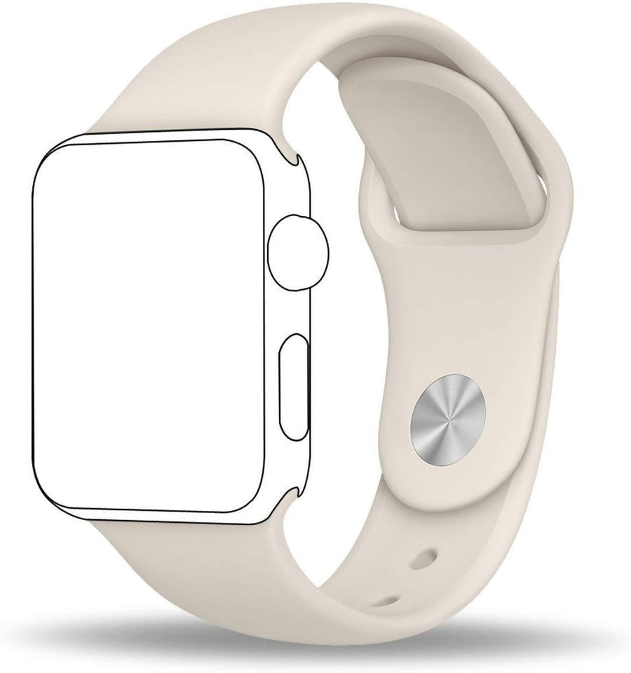 One Armor Compatible with Apple iWatch Band 42/44mm Silicone Strap for Series 4/3/2/1 (Watch NOT Included) Off White Sports - iZiffy.com