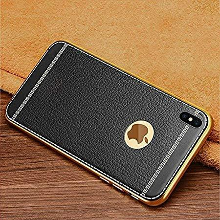 One Armor iPhone Gold Plated iPhone X/Xs Case with 3D Embossed Litchi TPU Phone Cases (Leather Finish) (Black) - iZiffy.com