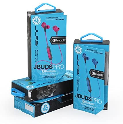 JLab Audio JBuds Pro Bluetooth Wireless Signature Earbuds | Titanium 10mm Drivers | 6-Hour Battery Life | Music Controls | Noise Isolation | Bluetooth 4.1 Extra Gel Tips and Cush Fins | Graphite/Blu - iZiffy.com