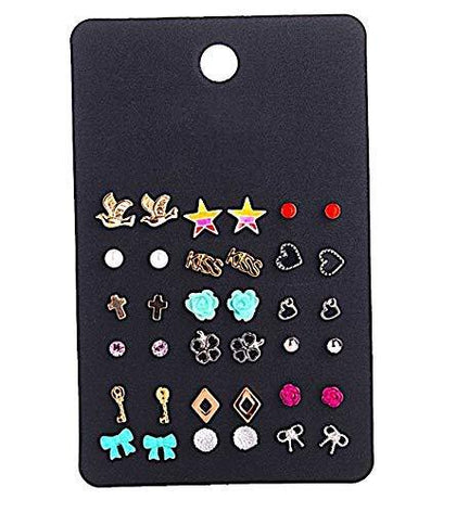 Multicolour Zinc Alloy Stud Earrings for Women -Combo of 18 - iZiffy.com