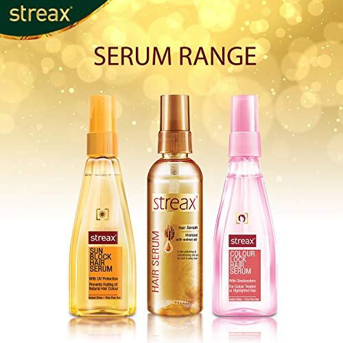 Streax Hair Serum for Women & Men / Contains Walnut Oil / Instant Shine & Smoothness / Regular use Hair Serum for Dry & Wet Hair / Gives frizz – free Hair / Soft & Silky Touch / 100ml - iZiffy.com