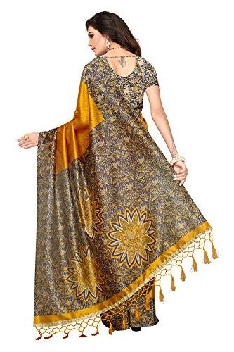 Art Silk Saree with Blouse Piece (Free Size)