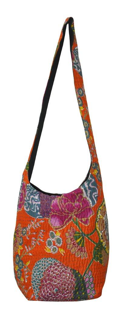 Flaray Jaipuri Handmade Floral Print Design Cotton Kantha Bag 12 X 15 inches - iZiffy.com