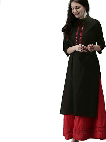 Women Stitched Black Rayon Straight Kurti