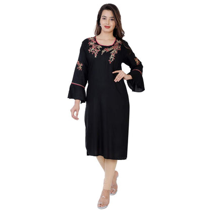 Flaray Rayon Straight Embroidery Work Kurti - Black - iZiffy.com