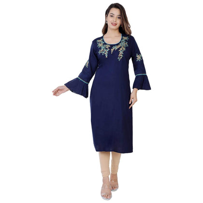 Flaray Rayon Straight Embroidery Work Kurti - Blue - iZiffy.com