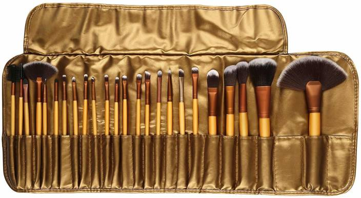 Skinplus Professional Cosmetic Brush Set (24 Pieces) with Golden Leather Pouch for Eye Shadow Blush Concealer  (Pack of 24)