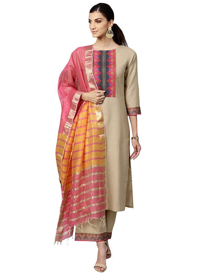 Flaray Women's Pure Cotton Straight Palazzo Kurta Set With Dupatta (Beige)