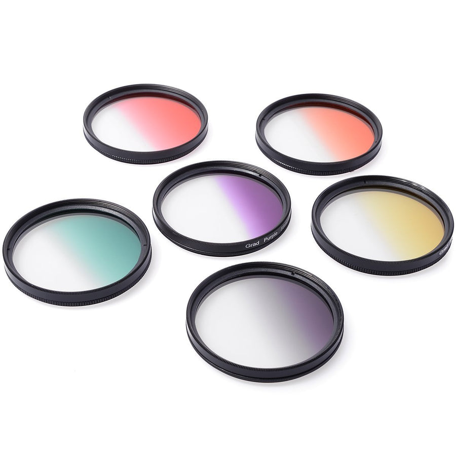 XCSOURCE 58mm Square Filter Kit Compatible With Cokin P Series-6PCS Granduated Color Filters (Orange Yellow Red Green Gray Purple) + Rosy Filter Bag + Cleaning Cloth LF349 - iZiffy.com