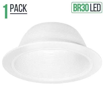 6 White Baffle Trim with White Ring for 6 Recessed Can Lighting - Replaces BR30/PAR30/R30