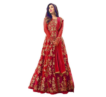 Flaray Women's Net Semi Stitched Anarkali Salwar Suit Gown - iZiffy.com