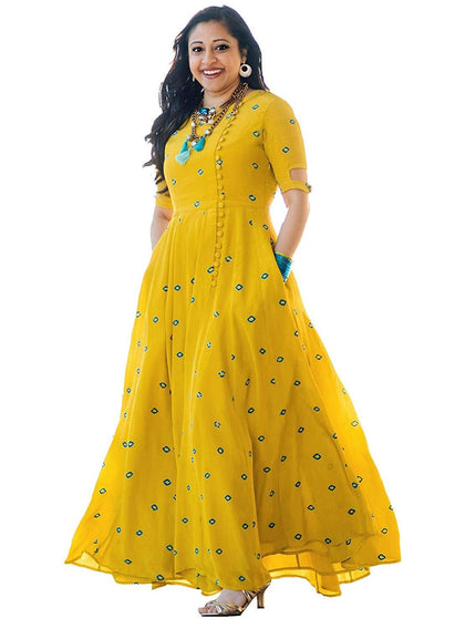 Women's Long Embroidered Rayon Kurti, Yellow - iZiffy.com