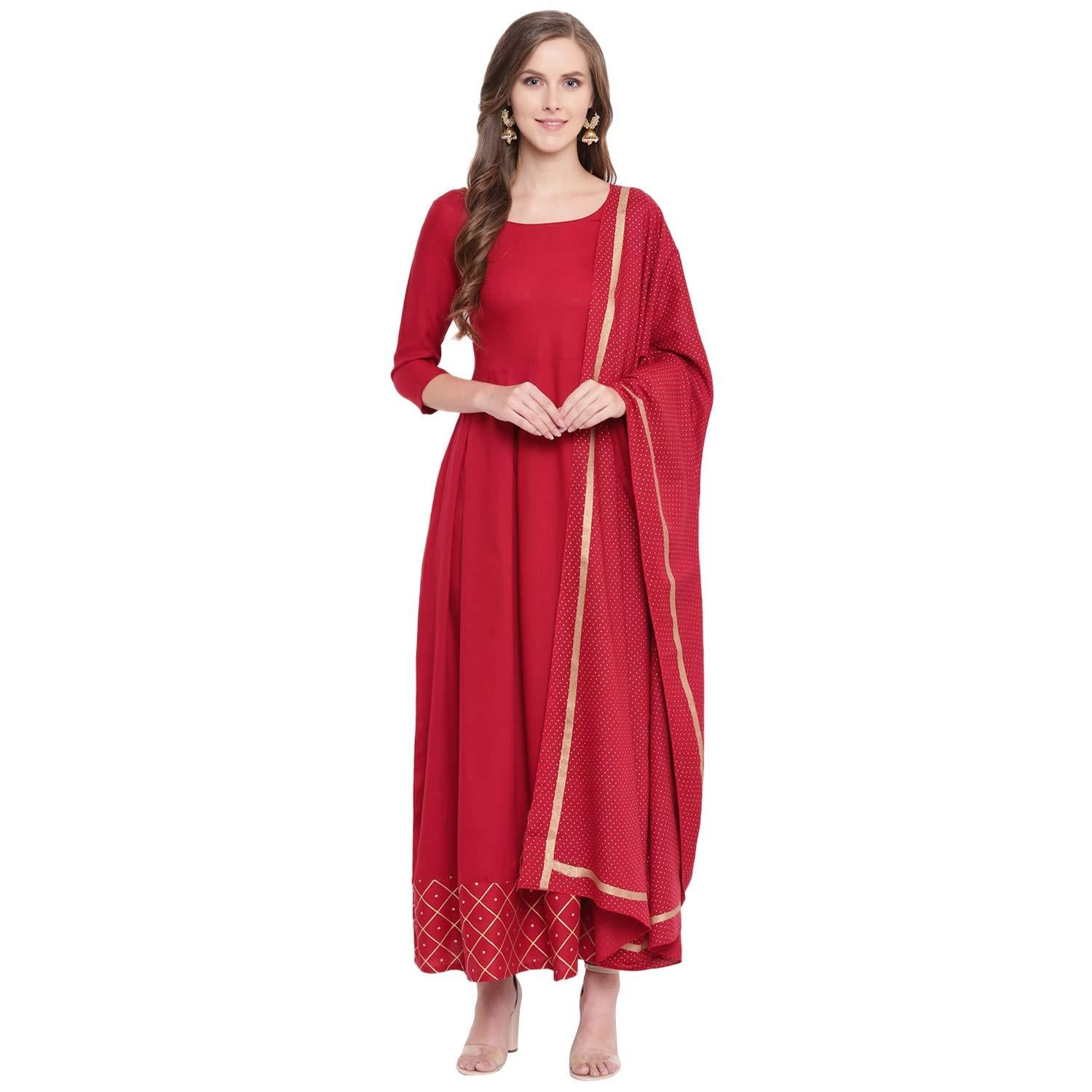 Flaray Gold Printed Rayon Flared Kurta Dupatta Set (Maroon)