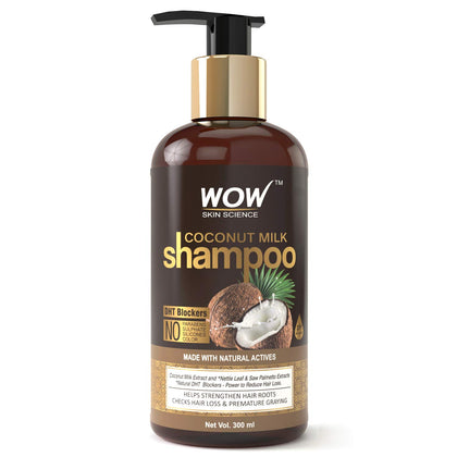 WOW Coconut Milk No Parabens, Sulphate, Silicone, Salt & Color Shampoo, 300mL - iZiffy.com