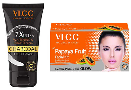 VLCC 7X Ultra Whitening and Brightening Charcoal Peel Off Mask, 100g - iZiffy.com