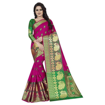 Flaray Designer Banarasi Cotton Silk Saree - iZiffy.com