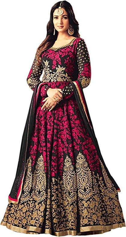Flaray Women's Semi Stitched Taffeta Silk Anarkali Gown - iZiffy.com
