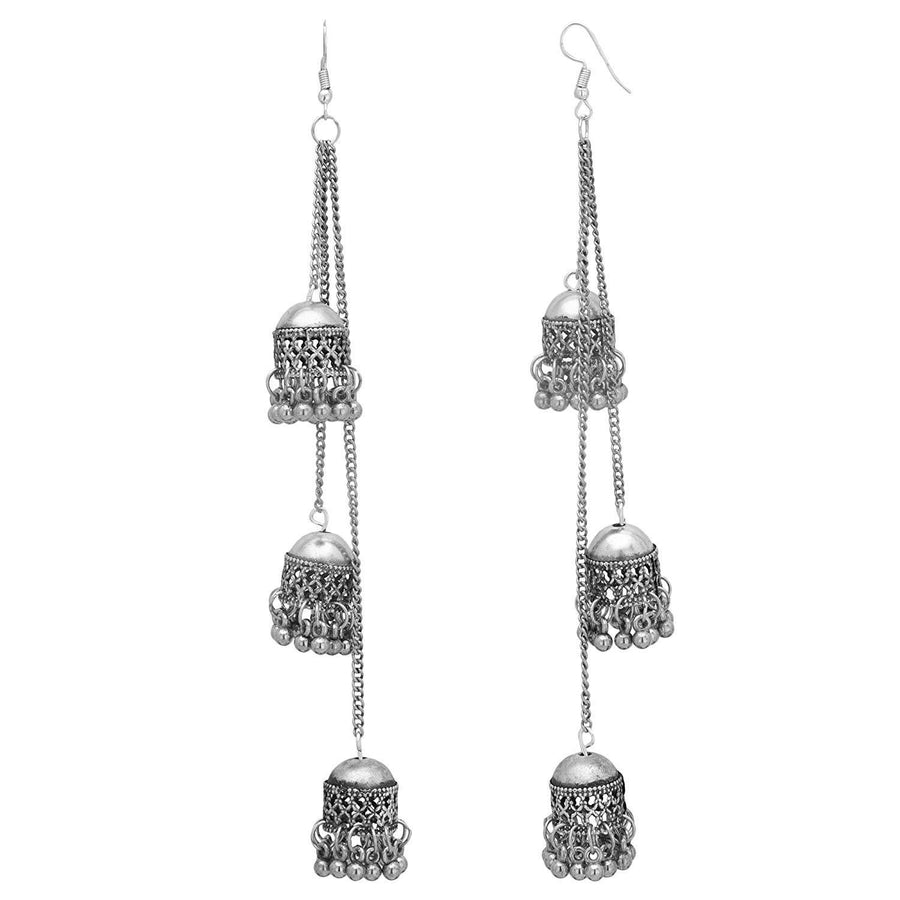 Designer Oxidised Silver Hook Earrings - iZiffy.com
