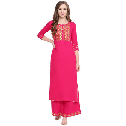 Flaray Women's Embroidered Rayon Straight Kurta Palazzo Set