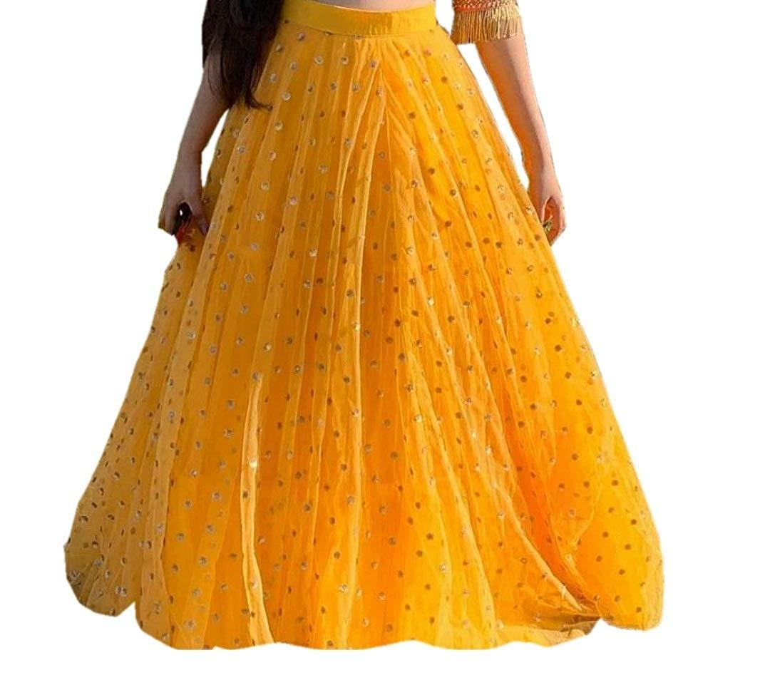Flaray Women's Heavy Net Embroidered Semi Stitched yellow colour lehenga choli With Blouse Piece
