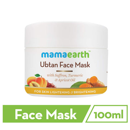 Mamaearth Ubtan Face Pack Mask for Fairness, Tanning & Glowing Skin with Saffron, Turmeric & Apricot Oil, 100 ml - iZiffy.com
