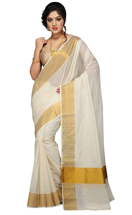 cotton kerala kasavu zari saree with blouse - iZiffy.com