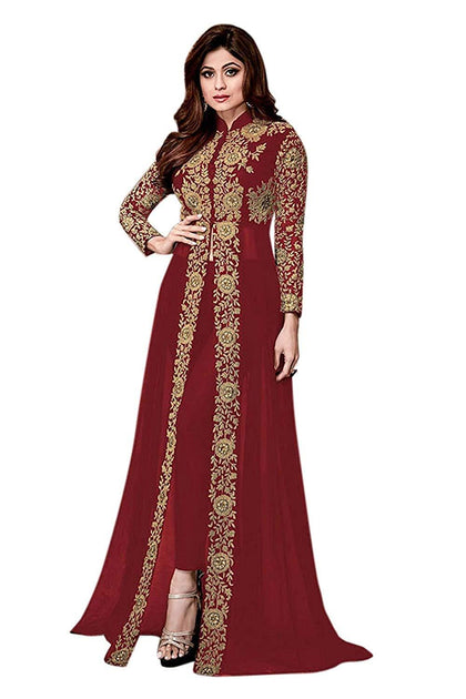 Flaray Women's Georgette Semi-Stiched Long Anarkali Salwar Suit/Gown With Dupatta