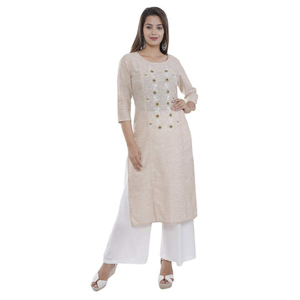 Flaray Women's Cotton Straight Embroidered Kurti - iZiffy.com