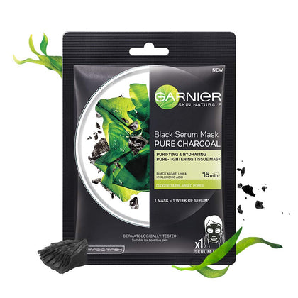 Garnier Skin Naturals, Charcoal, Face Serum Sheet Mask (Black), 28g - iZiffy.com