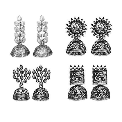 Flaray Oxidized Silver Earrings for Women (Combo Set of 4) - iZiffy.com