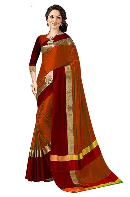 Women Cotton Silk Saree With Blouse Piece