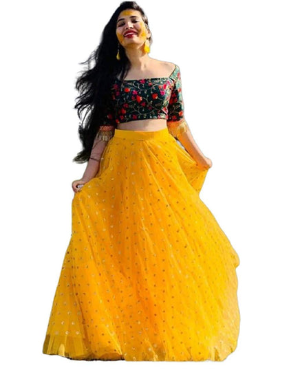 Flaray Women's Heavy Net Embroidered Semi Stitched yellow colour lehenga choli With Blouse Piece - iZiffy.com