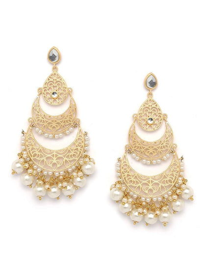 Gold-plated Handcrafted Crescent Shaped Chandbali - iZiffy.com