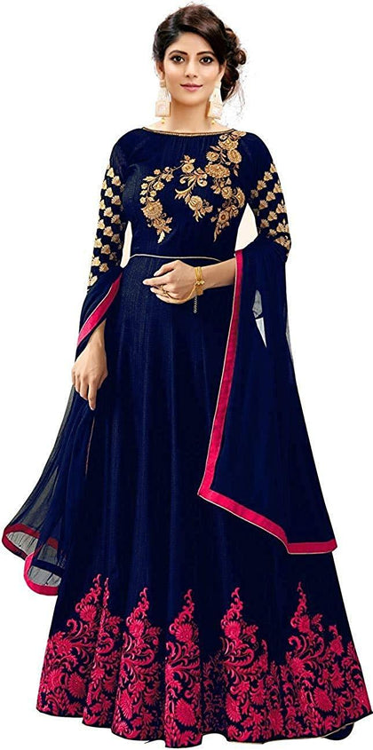 Flaray Taffeta Silk Embroidered Long Anarkali Gown for Women - iZiffy.com