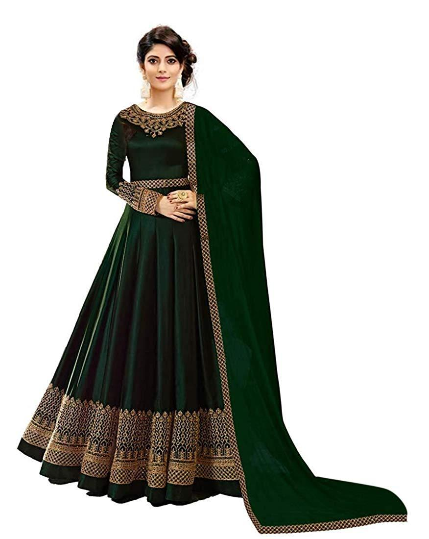 Flaray Women's Faux Georgette Semi-stitched Anarkali Gown - iZiffy.com