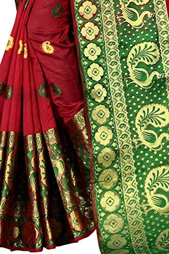 Banarasi Silk, Cotton multi-colored Saree With Blouse Piece - iZiffy.com