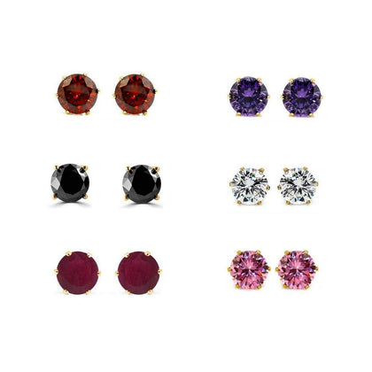 Combo of Gold Plated American Diamond Earrings Studs - iZiffy.com