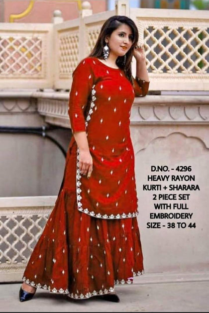 Flaray Rayon Gotta Work Straight Kurti and Crepe Sharar with Dupatta - iZiffy.com
