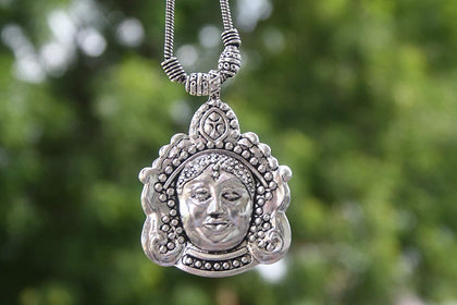 Sawarna Sterling Silver 925 Maa Durga Pendant Necklace rectangular With Earings - iZiffy.com