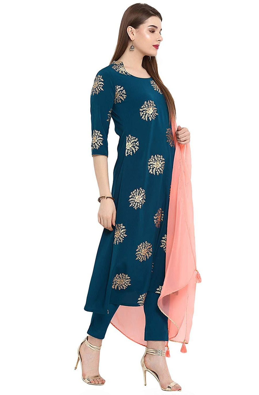 Flaray Women's Turquoise Crepe Kurta With Pant And Dupatta - iZiffy.com