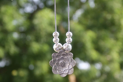 Sawarna Sterling Silver 925 Flower Pendant Necklace rectangular With Earings - iZiffy.com