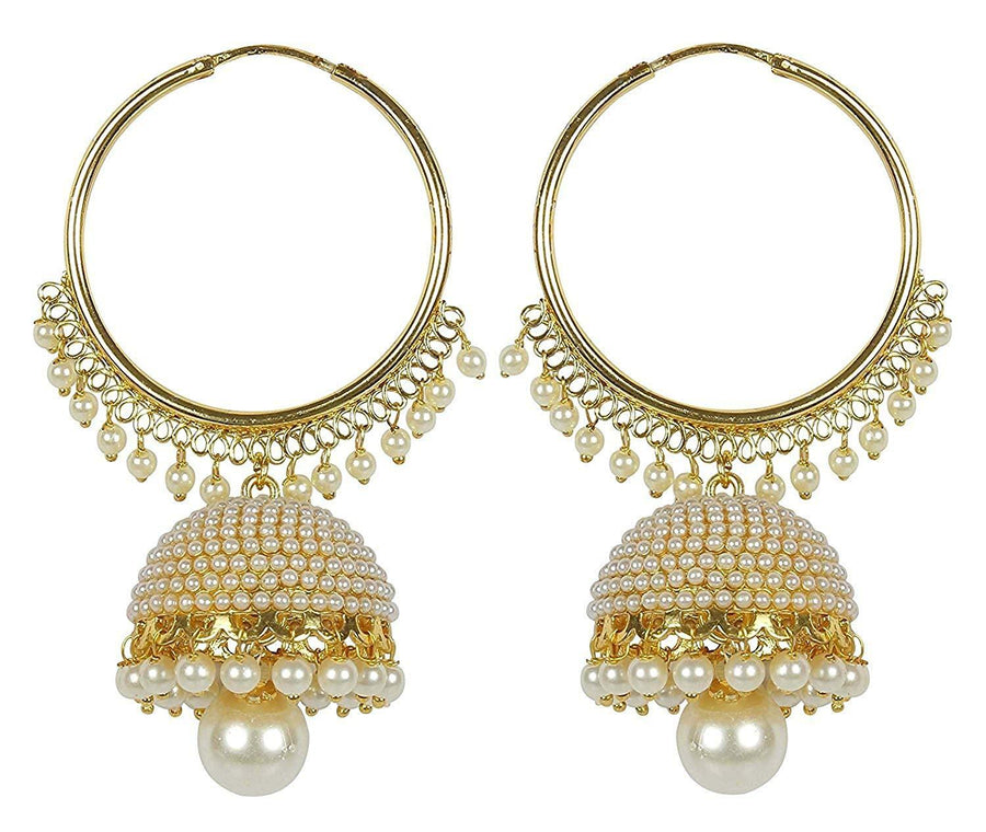 Gold Plated Chandbali Pearl Jhumki Earrings for Women - iZiffy.com