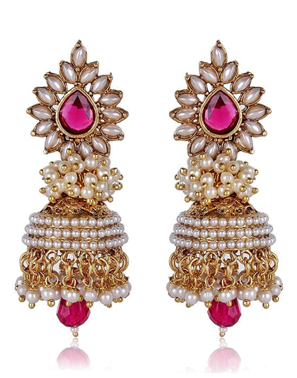 Flaray Traditional Pearl Stylish Fancy Party Wear Jhumki - iZiffy.com